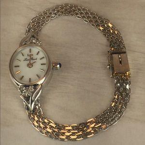 Vtg All 14K Diamond Lucien Piccard Watch, Works